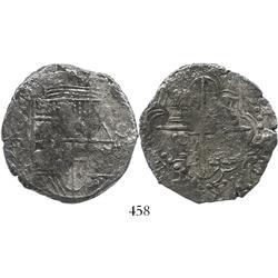 Potosi, Bolivia, cob 8 reales, (1618)PAL, rare, Grade 2.