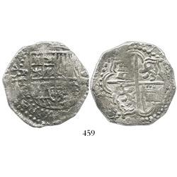 Potosi, Bolivia, cob 8 reales, 1618T, date at 9 o'clock, rare, Grade 1.