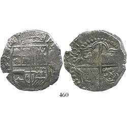Potosi, Bolivia, cob 8 reales, 16118T (penultimate digit repeated), quadrants of cross transposed, r