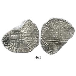 Potosi, Bolivia, cob 8 reales, 1618T, denomination as O-V-III, rare, Grade 3 (estimated), original c