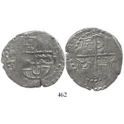Potosi, Bolivia, cob 8 reales, 1619T, Grade 1.