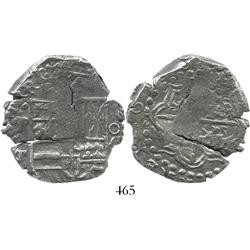 "Potosi, Bolivia, cob 8 reales, date as ""6260"" (1620), assayer T, mintmark P over backwards P, quadra"