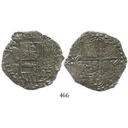 Potosi, Bolivia, cob 8 reales, 1620T, backwards-P mintmark, Grade-2 quality but Grade 1 on certifica