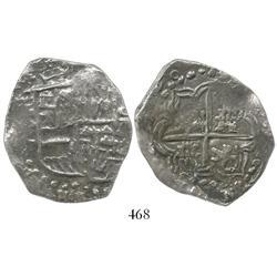 Potosi, Bolivia, cob 8 reales, (16)20T, quadrants of cross transposed, Grade-2 quality but Grade 3 o