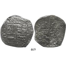 Potosi, Bolivia, cob 8 reales, 1621T, backwards mintmark P, upper half of shield and quadrants of cr