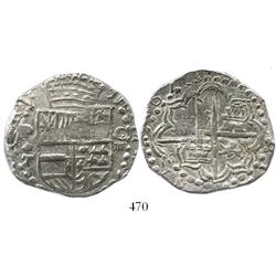 Potosi, Bolivia, cob 8 reales, 1621T, upper half of shield and quadrants of cross transposed, rare,