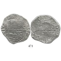 "Potosi, Bolivia, cob 8 reales, date as ""2621"" (rare), assayer T, quadrants of cross transposed, Grad"