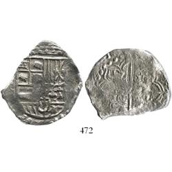 Potosi, Bolivia, cob 8 reales, 1621(T), quadrants of cross transposed, Grade 3.