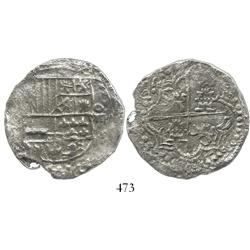 Potosi, Bolivia, cob 8 reales, (1)62(?)(T), upper half of shield and quadrants of cross transposed,