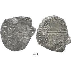 Potosi, Bolivia, cob 8 reales, (16)2(?)T, mintmark P over backwards P, quadrants of cross transposed
