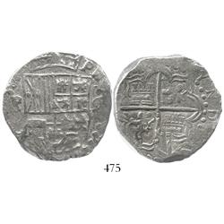 Potosi, Bolivia, cob 8 reales, Philip III, assayer not visible, upper half of shield transposed, Gra