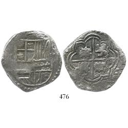 Potosi, Bolivia, cob 8 reales, Philip III, assayer not visible, rare variety with sideways castles,