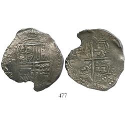 Potosí, Bolivia, cob 8 reales, Philip III, assayer not visible, Grade 1.