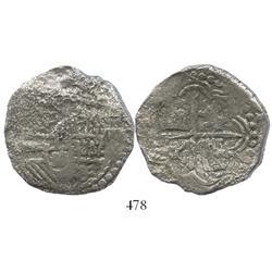 Potosi, Bolivia, cob 8 reales, Philip III, assayer not visible, Grade 3 (estimated), original certif