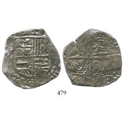 Potosi, Bolivia, cob 8 reales, Philip III, assayer not visible, Grade 3 (estimated), certificate and