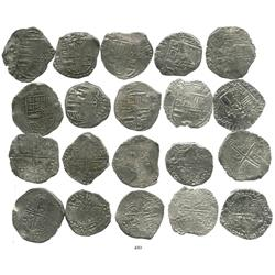 Lot of 10 Potosi, Bolivia, cob 8 reales, Philip III, various assayers (where visible), all with part