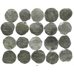 Lot of 10 Potosi, Bolivia, cob 8 reales, Philip III, various assayers (where visible), Grade 1.