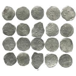 Lot of 10 Potosi, Bolivia, cob 8 reales, Philip III, various assayers (where visible), Grade 1.