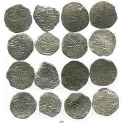 Lot of 8 Potosi, Bolivia, cob 8 reales, Philip III, various assayers (where visible), one with upper