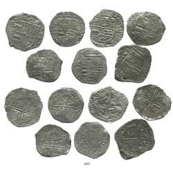 Lot of 7 Potosi, Bolivia, cob 8 reales, Philip III, various assayers (where visible), all with parti