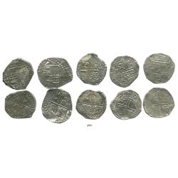 Lot of 5 Potosi, Bolivia, cob 8 reales, Philip III, various assayers (where visible), Grade 1.