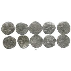 Lot of 5 Potosi, Bolivia, cob 8 reales, Philip III, various assayers (where visible), Grade-1 qualit
