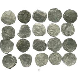 Lot of 10 Potosi, Bolivia, cob 8 reales, Philip III, various assayers (where visible), Grade 2.