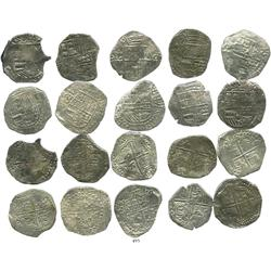 Lot of 10 Potosi, Bolivia, cob 8 reales, Philip III, various assayers, (where visible), one with upp