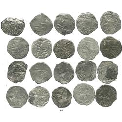 Lot of 10 Potosi, Bolivia, cob 8 reales, Philip III, various assayers, (where visible), Grade 2.