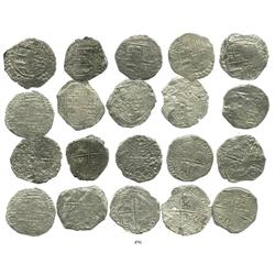 Lot of 10 Potosi, Bolivia, cob 8 reales, Philip III, various assayers, (where visible), Grade 3.