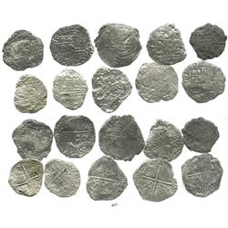 Lot of 10 Potosi, Bolivia, cob 8 reales, Philip III, various assayers, (where visible), Grade 3, one