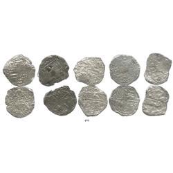 Lot of 5 Potosi, Bolivia, cob 8 reales, Philip III, various assayers, (where visible), Grade-3 quali