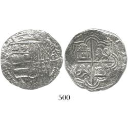 Potosi, Bolivia, cob 4 reales, Philip II, assayer B (5th period), borders of x's, Grade 1.