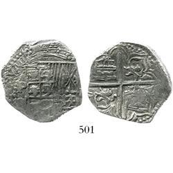 Potosi, Bolivia, cob 4 reales, Philip III, P-Q, Grade 1.