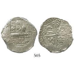 Potosi, Bolivia, cob 4 reales, 1618PAL, very rare, Grade 1.