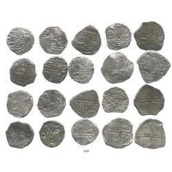 Lot of 10 Potosi, Bolivia, cob 4 reales, Philip III, various assayers, (where visible), Grade 1.