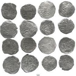 Lot of 8 Potosi, Bolivia, cob 4 reales, Philip III, various assayers, (where visible), Grade 2.