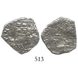 Potosi, Bolivia, cob 2 reales, (1618)PAL, rare assayer (bold), Grade 3.