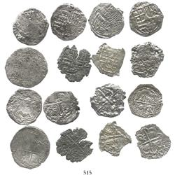 Mixed lot of 8 Grade-3 2R:  7 Potosi, Bolivia, Philip II (assayer B) and III (assayers not visible,