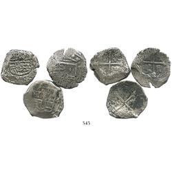 Lot of 3 Mexico City, Mexico, cob 4 reales, Philip IV, assayer not visible.