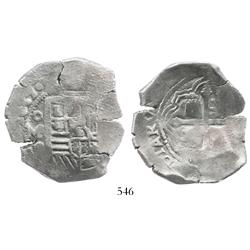 Mexico City, Mexico, cob 8 reales, 1637P, rare, canvas impression on shield, desirable pedigree.