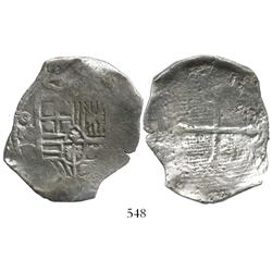 Mexico City, Mexico, cob 8 reales, Philip IV, assayer P, with canvas impression on reverse.