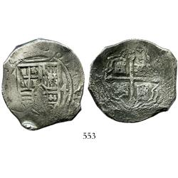 Mexico City, Mexico, cob 8 reales, Philip IV, assayer not visible, rare error with shield side struc