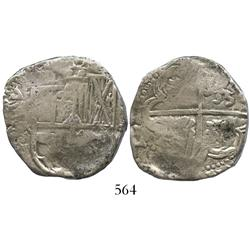 Potosi, Bolivia, cob 8 reales, Philip IV, assayer TR(?) (late 1630s).