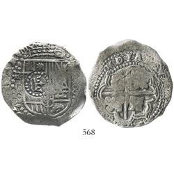 Potosi, Bolivia, cob 8 reales, (1649-50)O, with crown-alone countermark on shield, rotated reverse l