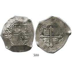 Mexico City, Mexico, cob 8 reales, 1655/4(?)P, choice.