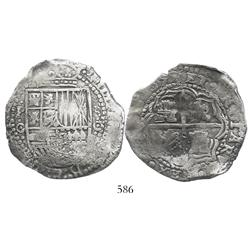 Potosi, Bolivia, cob 8 reales, 1651/0O (scarce overdate), with crowned-(?) countermark on cross, cho