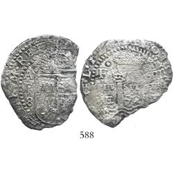 Potosi, Bolivia, cob 8 reales, 1652E transitional Type V, rare.