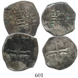Lot of 2 Mexico City, Mexico, cob 2 reales, Philip IV, assayer not visible. LOT WITHDRAWN