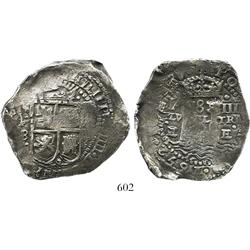 Potosi, Bolivia, cob 8 reales, 1652E transitional Type VII, Calico Plate Coin. LOT WITHDRAWN